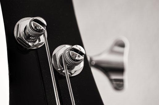 Metal Key, Handle, Bass Guitar, Music, Silver, Musical