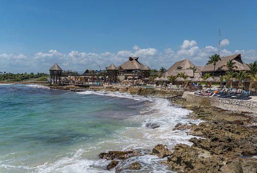 Mexico, Costa Maya, Rocky Coast, Water, Seashore