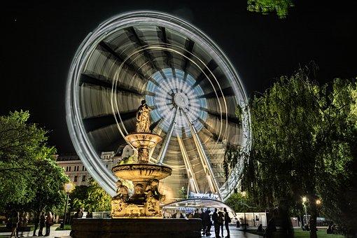 Ferris Wheel, Night-life, Urban, Architecture, Outdoors