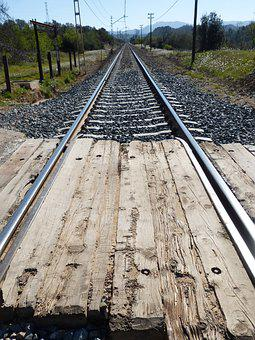 Level Crossing, Rails, Rail, Perspective, Railway