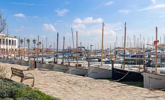 Mallorca, Port De Pollença, Port, Yachts, Sailing Boats