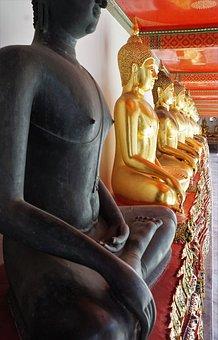 Buddha, Sculpture, Statue, Religion, Background, Golden