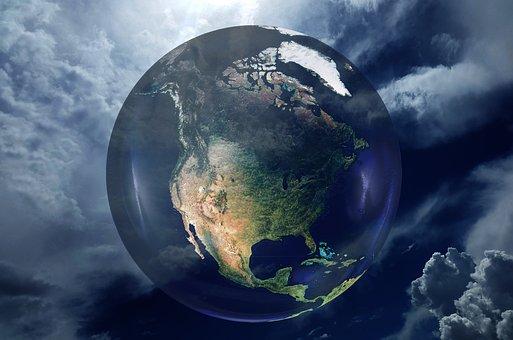 Usa, America, Globe, World Power, Sky, Clouds, Universe