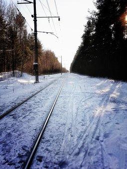 Railway Track, Winter, Racecourse, Snow, Railway