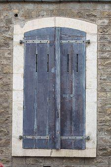 Architecture, Old, Window, Shutters, Blue, France