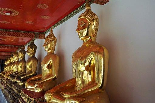 Buddha, Religion, Golden, Sculpture, Ornament, Statue