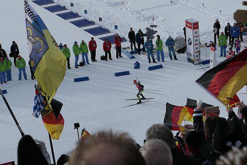 Human, Snow, Flag, Winter, Biathlon, Antholz 2018