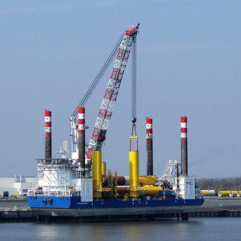 Industry, Crane, Harbor, Sky, Business, River
