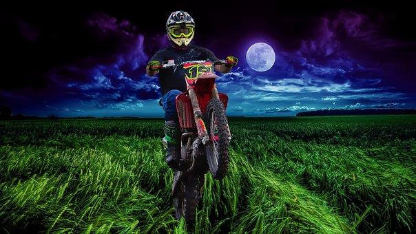 Motorcycle, Wheeler, Field, Nature, Sky, Moon, Vehicle