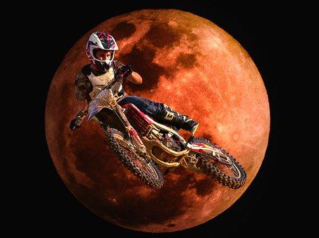 Motocross, Dirt Bike, Moon, Red, Stunt, Bike, Sport