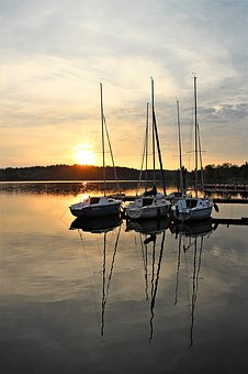 Waters, Sailing Boat, Reflection, Yacht, Sky, Sunset