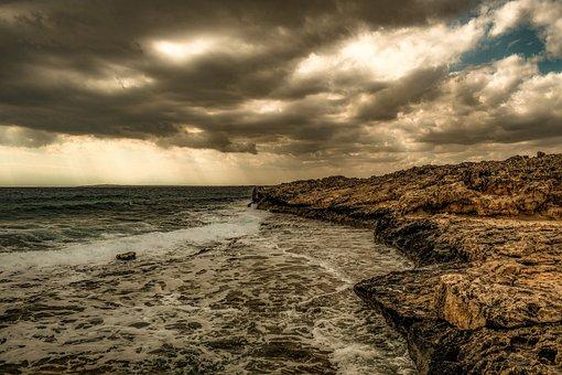 Sea, Coast, Rocky, Sky, Clouds, Seashore, Landscape