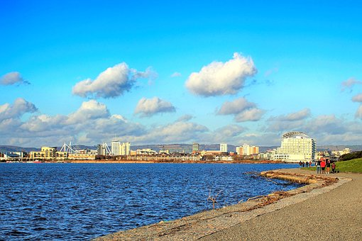 Water, Sea, Sky, Travel, Panoramic, Cardiff