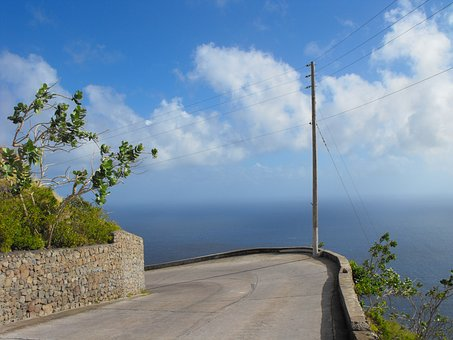 Saba, Caribbean Netherlands, Road, Curve, Water, Sky