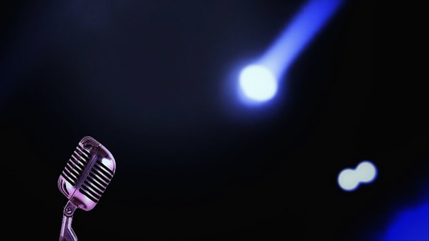 Microphone, Music, Illuminated, Singer, Song, Sound