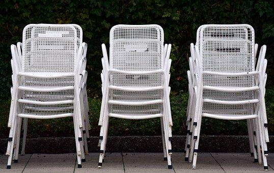 Garden Chairs, White, Metal, Stacked, Seat, Garden