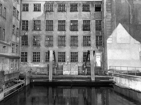 Architecture, Water, Reflection, Street, Monochrome