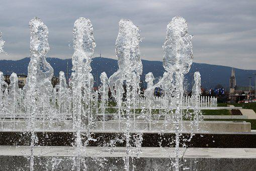 Water Fontana, Sprinkling, Zagreb Panorama, Outdoor