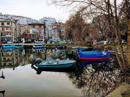 Lake, Boats, Water, Afternoon, Kastoria