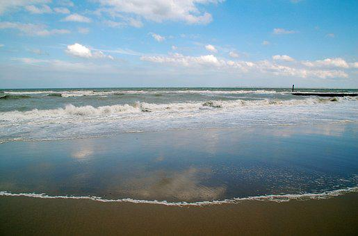 Sea, Zealand, Beach, Waves, Air, Clouds, Coast, Rest