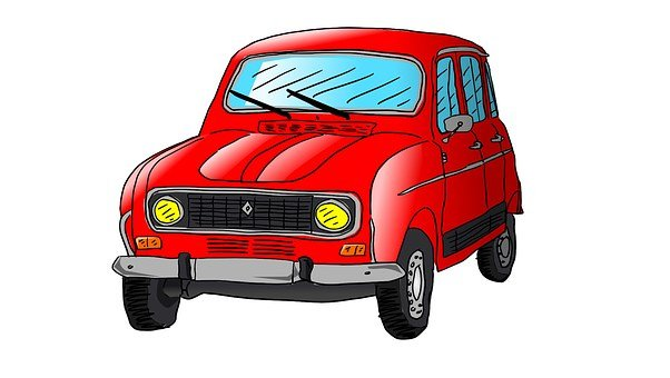 Renault, R4, Auto, Car, Drawing, Illustration