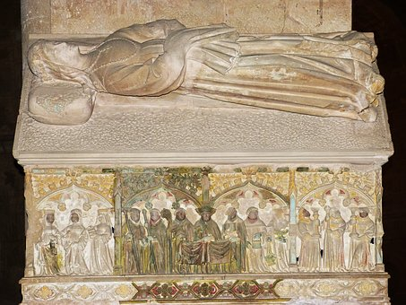 Medieval Tomb, Carved Stone, Sculpture, Polychrome