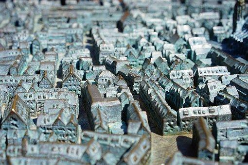 Relief, City, Ulm, Metal, Model, City Relief, Bronze