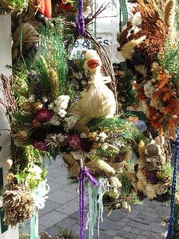 Munich, Vikt, Viktualienmarkt, Straw Flowers, Craft
