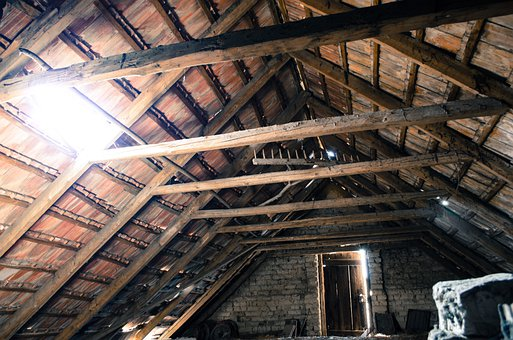 Attic, Pise, Old Attic, Tile, Light, Door, Beams, Rake