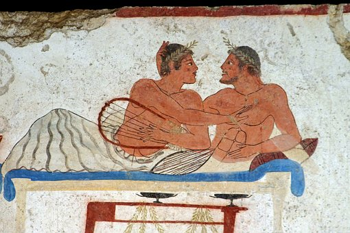 Paestum, Fresco, Tomb Of The Diver, Salerno, Italy