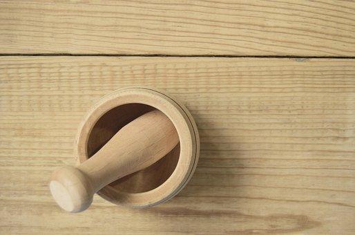 Mortar, Wood, Kitchen Utensil, Grind, Kitchen, Cook