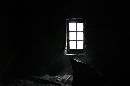Window, Dark, Attic, Dust, Cobweb, Gloomily, Light