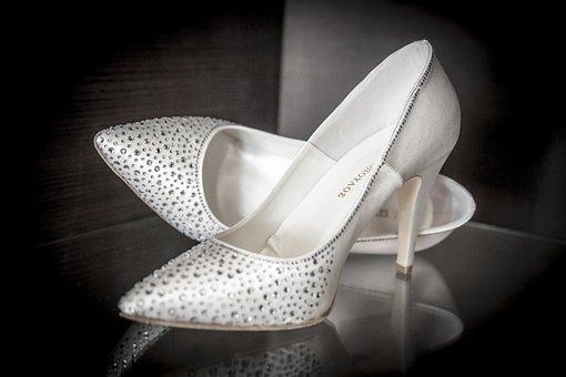 Heels, Bride, Whites, Marriage, Shoe, Wedding Dress