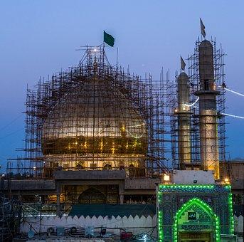 Al-askari Mosque, Repairs, Minarets, Iraq, Scaffold