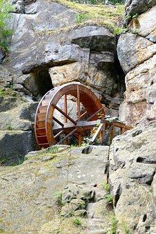 Nature, Landscape, Wooden Wheels, Mill, Old