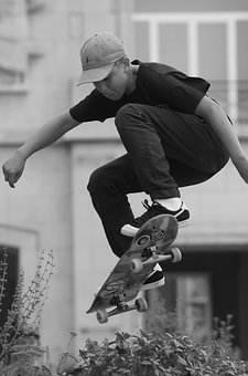 Skating, Sports, People, Skateboard, Man, Pet, Jump