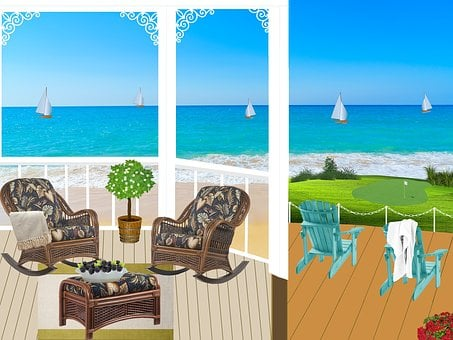 Balcony, Seaside, Ocean, Veranda, Railing, Armchairs
