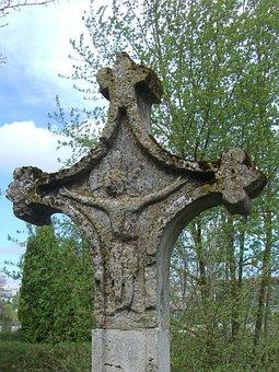 Stone Cross, Wayside Cross, Old, Rock Carving, Cross