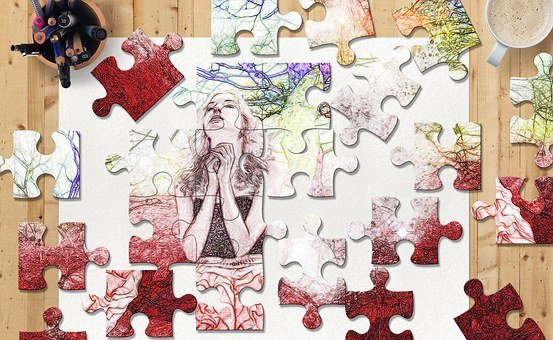 Puzzle, Sketch, Colors, Woman, Office, Coffee