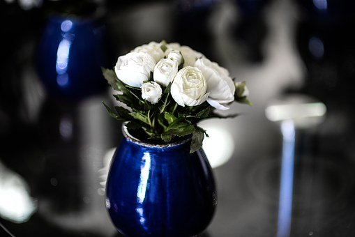 Vase, Flower Vase, Flowers, White, Wedding