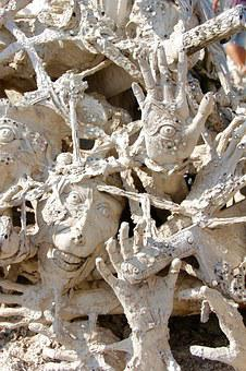 Hands, Face, Death, Wat Rong Khun, Temple, Thailand