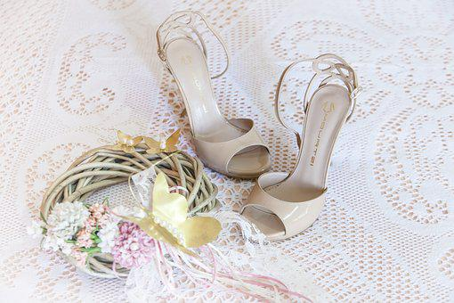 Woman, Sandals, Wedding Dresses, Bride, Decoration
