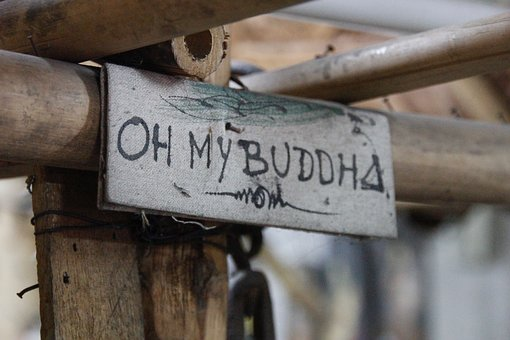 Buddha, Wooden Sign, Oh My Buddha