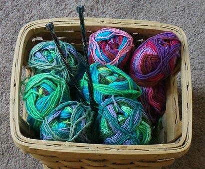 Knitting Basket, Knitting, Yarn, Variegated, Wool Blend