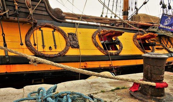 Transport, France, Sète, Port, Guns, Rope, Boat, Ship