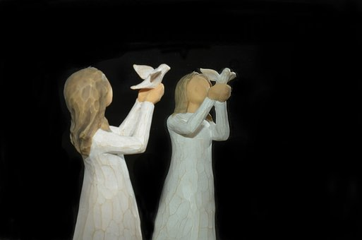 Dove, Mirroring, Miniature, Holzfigur, Carving, Statue