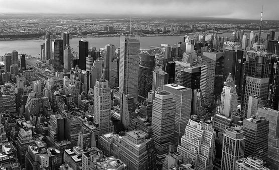 Skyscraper, Skyline, People, City, Many, New York, Nyc