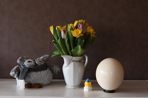 Easter, Vase, Eggs, Flower, Egg, No Person, Wallpaper