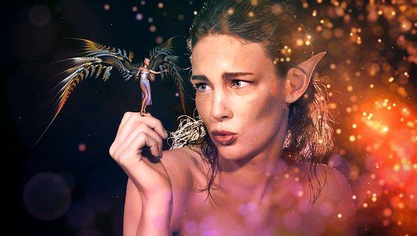 Fantasy, Elf, Large, Small, Encounter, Fairytale