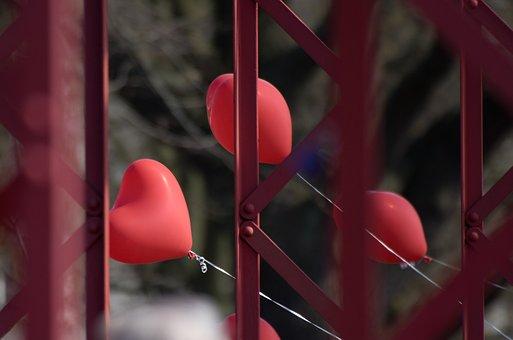 Balloon, Romance, Heart Shape, Red, Grid